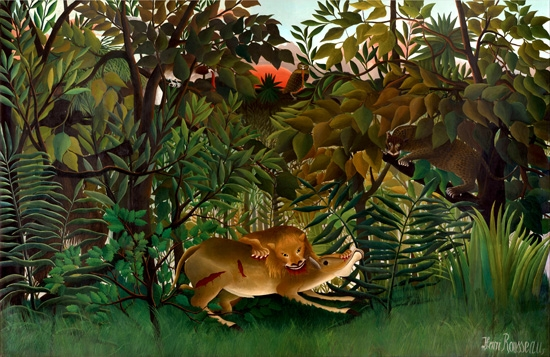 Hungry Lion Attacking an Antelope by Henri Rousseau