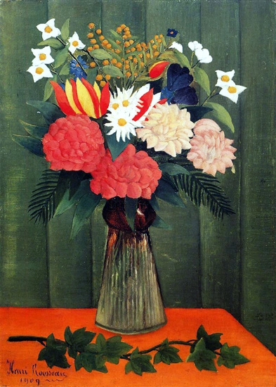 Bouquet of Flowers with an Ivy Branch by Henri Rousseau