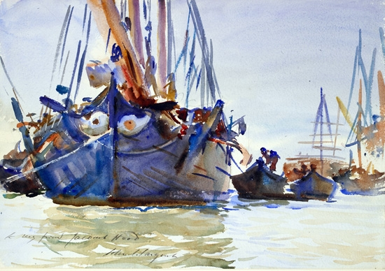 Italian Sailing Vessels at anchor by John Singer Sargent