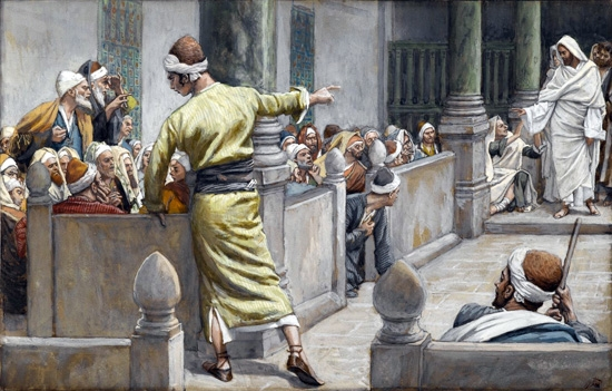 The Healed Blind Man Tells His Story to the Jews by James Tissot