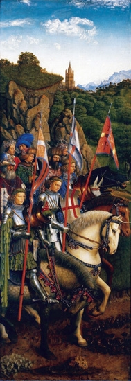 9. The Ghent Altarpiece Knights of Christ by Jan Van Eyck