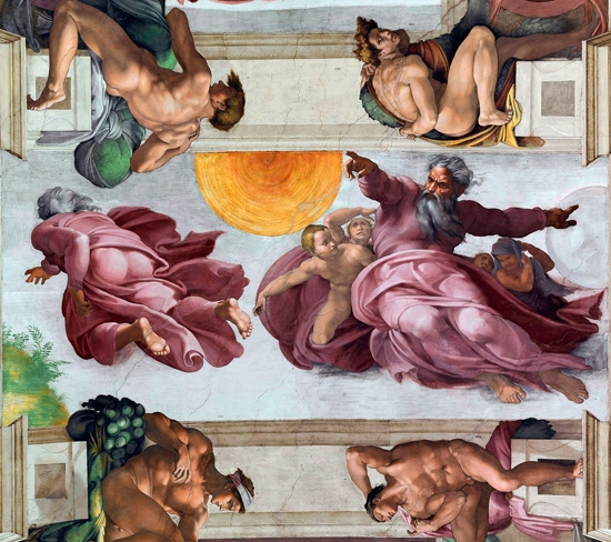 The Creation of the Sun and the Moon by Michelangelo Buonarroti