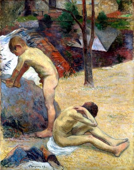 Breton Boys Bathing by Paul Gauguin