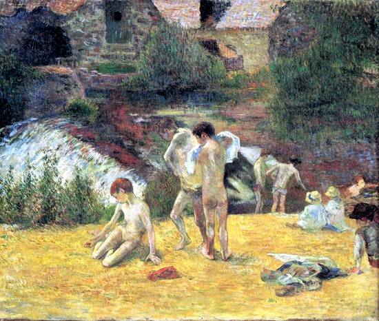 The Bathing By the Mill in Bois D'Amour, Pont-Aven by Paul Gauguin