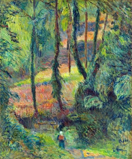 Chemin Creux Dans Une Pente BoiséE by Paul Gauguin