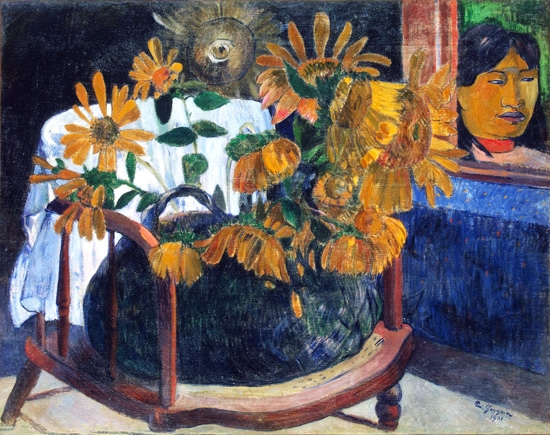 Still Life with Sunflowers on An Armchair by ポール·ゴーギャン