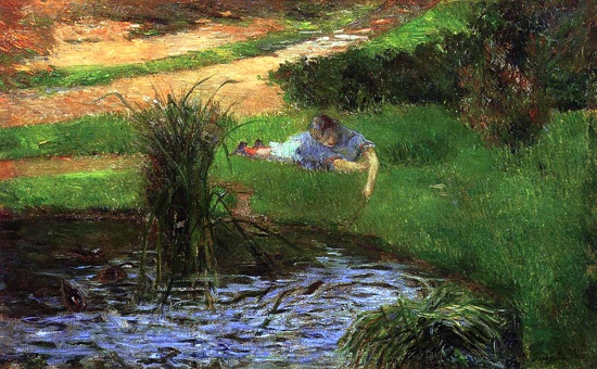 Little Girl Playing, or Pond with Ducks by ポール·ゴーギャン