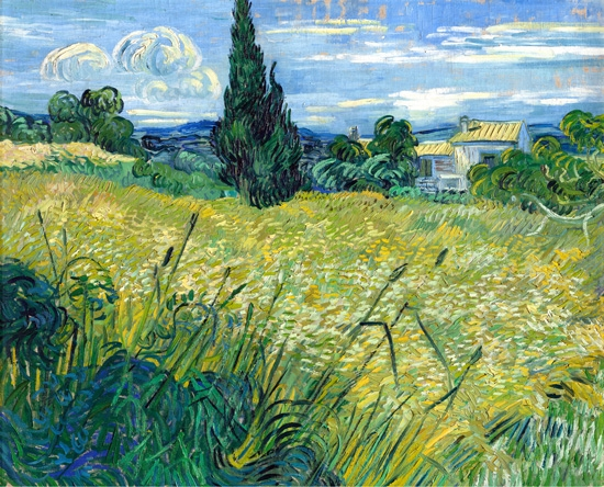 Green Wheat Field With Cypress (1889) by Vincent Van Gogh