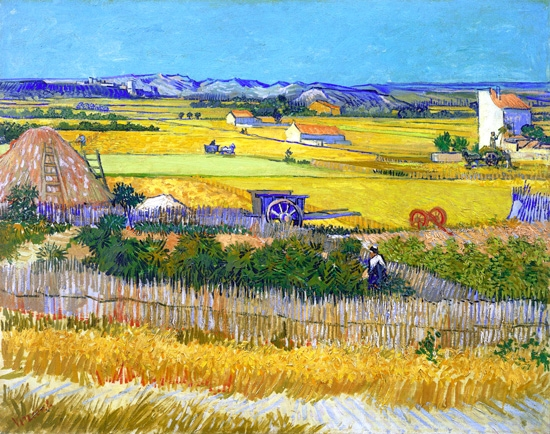 The Harvest With Blue Cart 1888 by Vincent Van Gogh