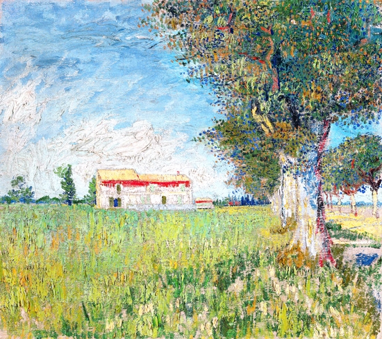 Farmhouse In A Wheat Field 1888 by Vincent Van Gogh