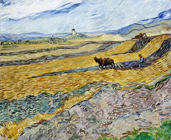 Enclosed Field With Ploughman 1889 by Vincent Van Gogh
