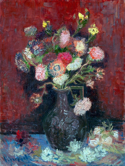Vase With Chinese Asters And Gladioli 1886 by Vincent Van Gogh