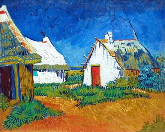 Three White Cottages In Saintes-Maries 1888 by Vincent Van Gogh