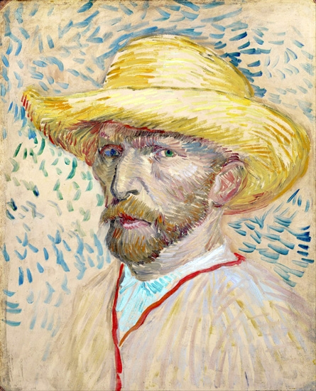 Self-Portrait With Straw Hat 1887 by Vincent Van Gogh