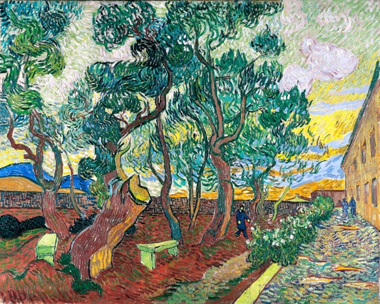 A Corner Of The Asylum And The Garden With A Heavy, Sawed-Off Tree 1889 by Vincent Van Gogh