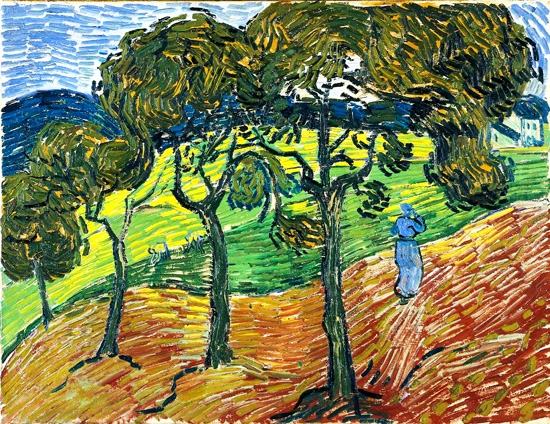 Landscape With Trees And Figures by Vincent Van Gogh