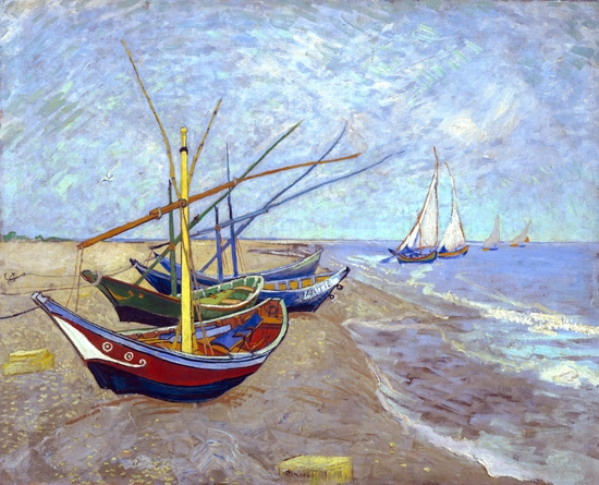 Fishing Boats On The Beach At Les Saintes-Maries-De-La-Mer 1888 by Vincent Van Gogh