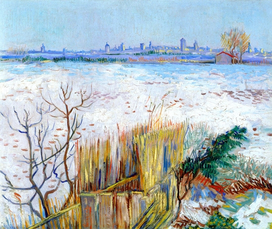 Snowy Landscape With Arles In The Background (1888) by Vincent Van Gogh