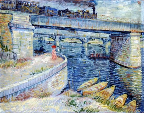 Bridges Across The Seine At Asnières by Vincent Van Gogh
