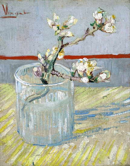 Sprig Of Flowering Almond In A Glass 1888 by Vincent Van Gogh