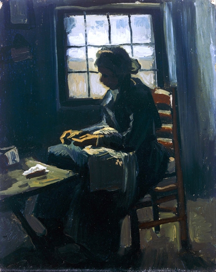 Woman Sewing 1885 by Vincent Van Gogh