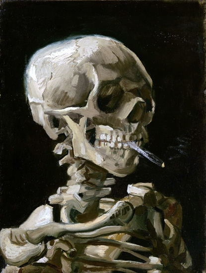 Head Of A Skeleton With A Burning Cigarette 1886 by Vincent Van Gogh