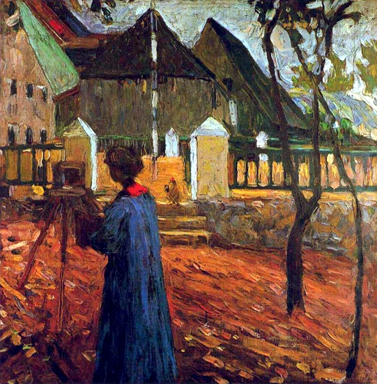 Gabriele Munter Painting In Kalimunz by Wassily Kandinsky